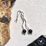 Black Agate Silver Twist Earrings